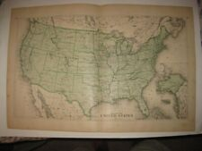 ANTIQUE 1876 UNITED STATES DATED MAP TERRITORY TEXAS CALIFORNIA FLORIDA SUPERB