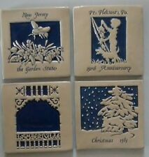 handmade ceramic tiles limited edition B.Love blue & off-white 4 pcs vintage