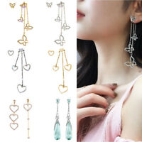 1 Pair Pearl Korean Heart Butterfly Earrings Crystal Dangle Ear Stud Jewelry New