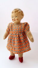 Antique Vintage Soviet Russian Cloth Doll Girl Head Compressed Sawdust Soft Body