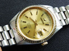 VINTAGE MEN  ENICAR  PRESIDENT  DAY DATE   25 JEWELS  AUTOMATIC  GOLD/SS  CLEAN