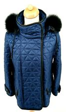 Burberry Leather Trim & Fox Fur Hood Quilted Blue Oversized Jacket UK XS / S