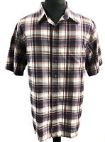 Roundtree & Yorke Blue Red Plaid Mens Button Front Short Sleeve Shirt Size XL