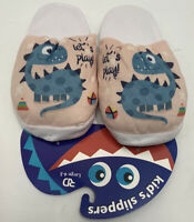 Dinosaur Slide On Slippers House Shoes Blue Tan Size L 4/5 New With Tags Boys