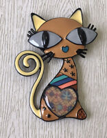 Adorable vintage  style large Cat  brooch in enamel on metal