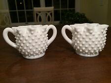 Vintage FENTON HOBNAIL WHITE MILK-GLASS Coffee Creamer & Open Sugar Bowl Set