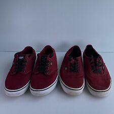 Job-lot Bundle 2X Vans Burgundy Sneakers Trainers Skateboarding Shoes Size UK 9