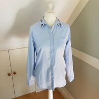 Ann Taylor Size 10 S/M Blue Shirt Blouse Embellished Collar Cotton Loft Softened