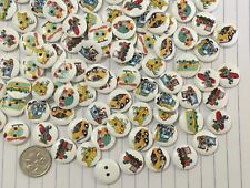 Wooden Boys Transport Toys Buttons 15mm Aussie Seller