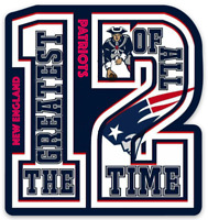 New England Patriots Greatest of All Time #12 Tom Brady logo Type Die-cut MAGNET
