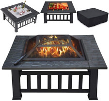 Yaheetech Multifunctional Fire Pit Table 32In Square Metal Firepit Stove Backyar