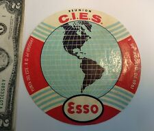 Vintage luggage label tag advertising Alliance for Progress Kennedy Uruguay ESSO