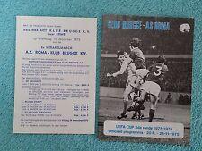 1975 - CLUB BRUGGE v ROMA PROGRAMME - UEFA CUP 3RD ROUND 1ST LEG