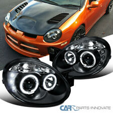 Dodge 03-05 Neon SRT4 SRT-4 Replacement LED Halo Projector Headlights Black Pair