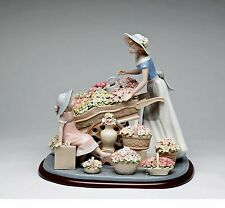 NADAL Fine Porcelain Figurine - Lady With Flowers Wagon -   CG-10413