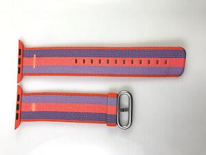 Original OEM Apple Watch Woven NYLON Band Silver buckle 42MM 44MM Orange Stripe