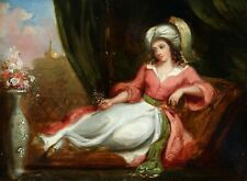 c.1850 FINE ORIENTALIST OIL ON PANEL - HAREM GIRL WITH FLOWERS BEFORE A MOSQUE