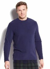 $105 CLUB ROOM Men Fleece Pajama Long-sleeve Solid Blue Shirt Sleepwear SIZE S