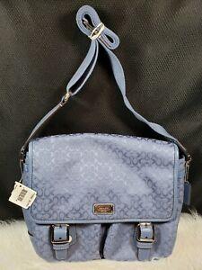 Coach F70283 Signature Canvas Jacquard Leather Trim Messenger Bag, Blue