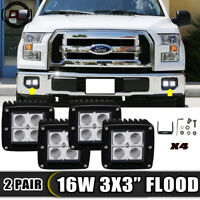 "3"" 16W Flood Cubic LED Work Light Fog Lamp Lower Bumper For 2015-2017 Ford F-150"