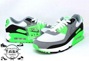 💯 Nike Air Max 90 White Gray Recraft Lime Sz 10.5 CW5458-100 BNIB