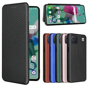For LG K22 / K42 / K52 / K62 / K92 Q92 5G Carbon Fiber Flip Leather Wallet Case