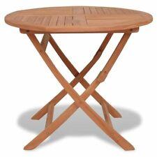vidaXL Solid Teak Wood Outdoor Dining Table Folding Round Garden Patio Stand
