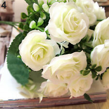 15 HEADS ROSE BOUQUET FAKE SILK FLOWER PARTY HOME WEDDING FLORAL DECOR CHEERFUL