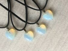 Small Heart shaped Opalite gemstone pendant and Cord Chain Jewellery Unisex