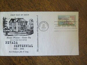 RARE 1964 NEVADA CENTENNIAL FIRST DAY OF ISSUE RINCKEL MANSION