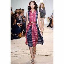 $498 DIANE VON FURSTENBERG DVF NIEVES Floral Print Silk Shirt Dress - Sz 12