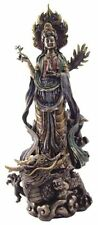 "14"" Quan Yin Avalokiteshvara on Dragon Kuan Statue Guan Eastern Deity Kwan Asian"