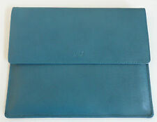 TUSK LTD Madison Envelope Case Clutch Teal Leather LA-760 NWT