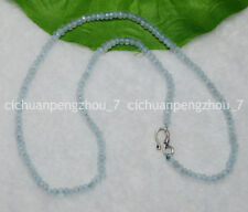 Natural 2x4mm Light Aquamarine Faceted Roundel Gems Beads Necklaces Silver Clasp