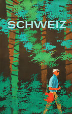 Original Vintage Poster Schweiz Swiss Travel Switzerland Nature Forest Hike 1960