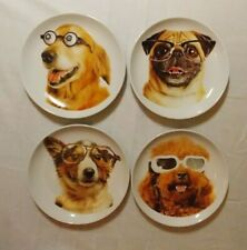 4 Piece Silly Dog Ceramic Plate Set Funny Pug and other Dogs wearing glasses