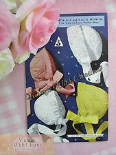 Vintage 50s Knitting Pattern 4 Styles Of Pretty Bonnet For Baby. FREE POSTAGE!!!