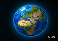3D postcard – Earth seen from outer space – Continents: Europe, Africa, Asia