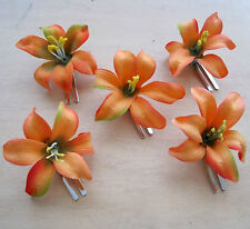 "5 Piece Lot Small 2"" Mango Orange Lily Silk Flower Hair Clips,Weding,Prom,Dance"