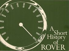 Rover 'A Short History' Corporate History 1877-1970 UK Market Brochure