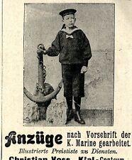 Christian Voss Kiel KNABEN-MATROSENANZÜGE Historische Reklame von 1906