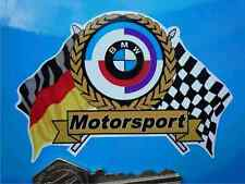 BMW MOTORSPORT Gunsight Style Flags & Scroll Car STICKER Classic Race Racing