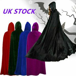 Halloween Cosplay Velvet Hooded Cloak Robe Medieval Witchcraft Cape Robe Costume