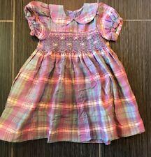 Strasburg Traditional Plaid Smocked Dress Slub Silk Holidays EUC 18 Months