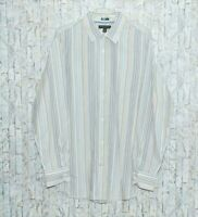 Banana Republic White Striped Long Sleeve Men's Shirt Size XL 17-171/2 Slim Fit