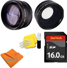 WIDE ANGLE MACRO LENS + ZOOM LENS +16GB SD CARD FOR CANON EOS REBEL T5I T5 T3 T6