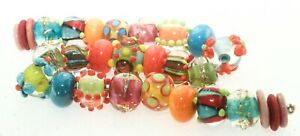 OliveStuart Handmade Lampwork Beads 29  bright round