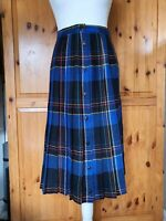 Vintage Wool Blend Pleated ALine Button Front Skirt Blue UK 12 W30 Tartan Check