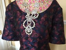 Monsoon Beth Pleated Navy Floral Dress Size 16 Pristine Posting Daily Hols 9/5