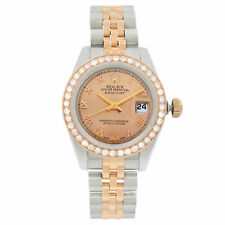 Rolex Datejust Acero Oro Rosa personalizado 1 Cttw Diamante Bronce Cuadrante Reloj 179171